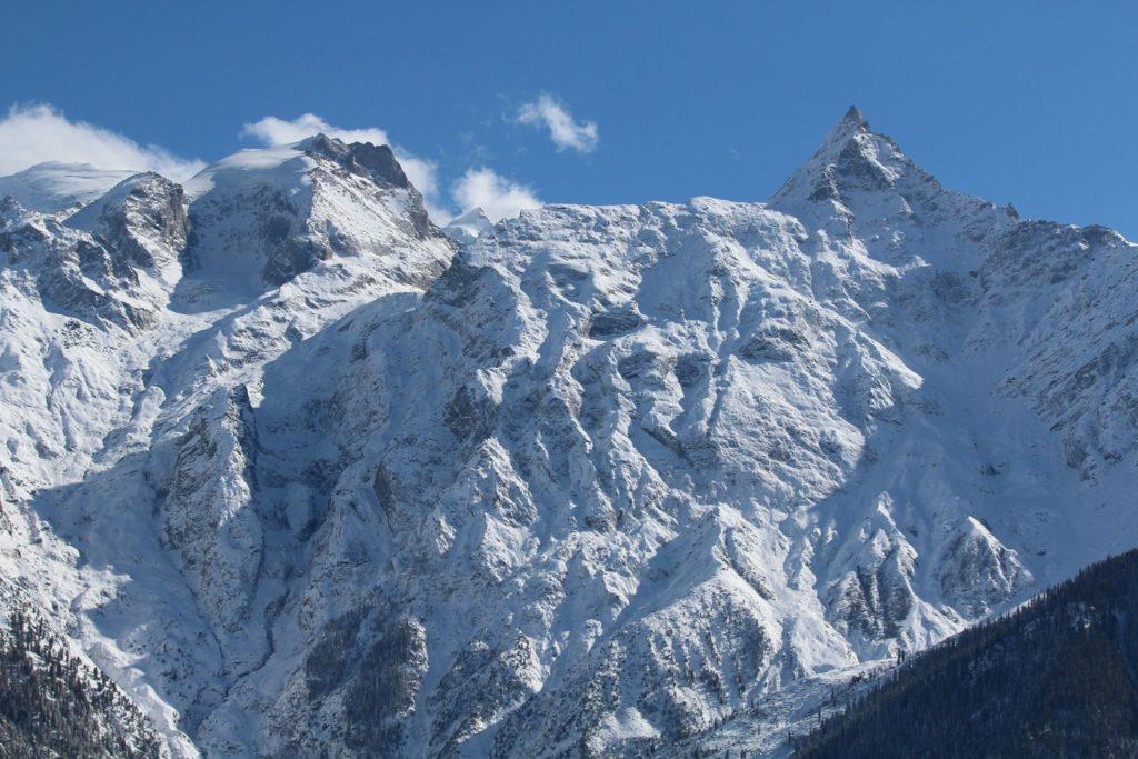 Snowy Raldang peak of Kinner - Kailash mountain range in Kinnaur
